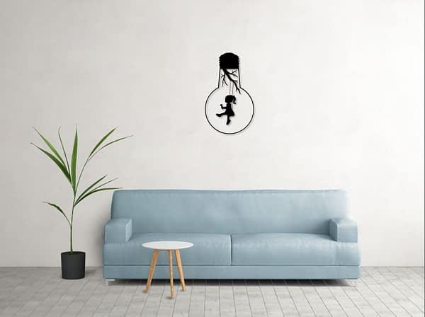fém fali dekoráció kislány rajz