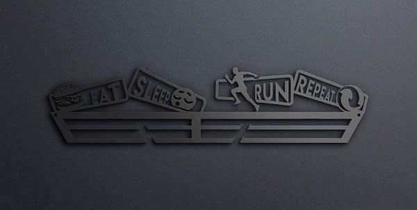 Egyedi falikép és sport éremtartó fali dekoráció ötletek Eat sleep run repeat futós éremtartó