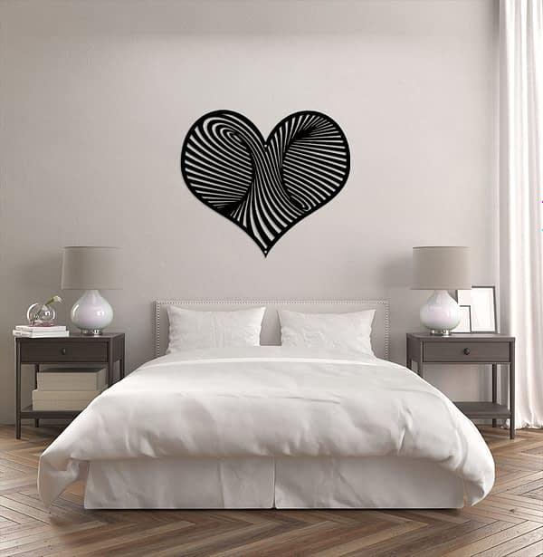 Modern szív dekor fém fali kép 1