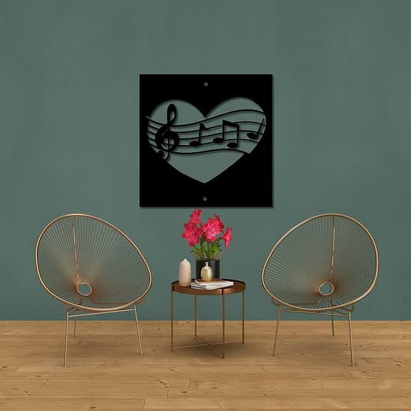 Love music hangjegyek fali fém dekorkép 1