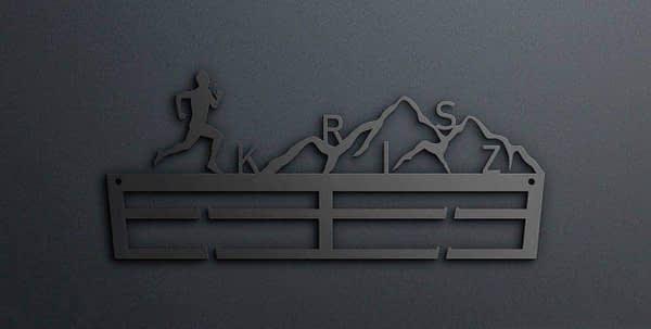 Egyedi falikép és sport éremtartó fali dekoráció ötletek Névvel ellátott terep futós éremakasztó férfi kivitel