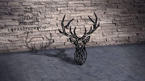 Low poly line art szarvas fém lakás dekorációs kép 1