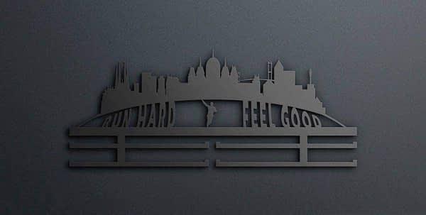 Egyedi falikép és sport éremtartó fali dekoráció ötletek Run hard feel good éremtartó