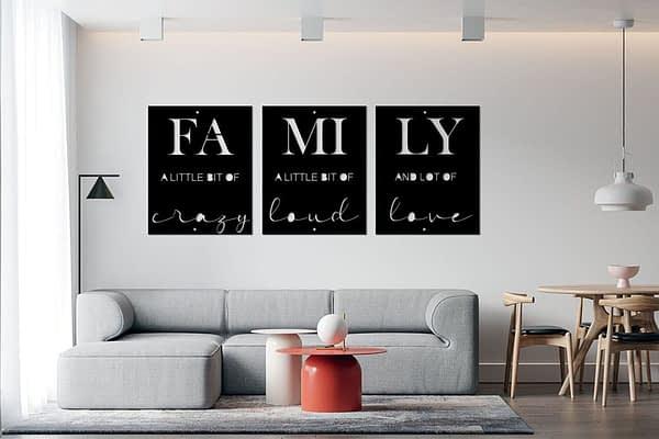 FAMILY 3 részes fém fali dekorkép 1