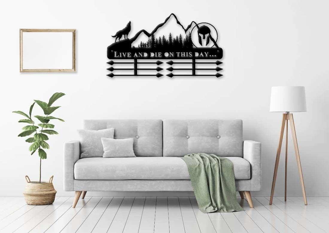 Egyedi falikép és sport éremtartó fali dekoráció ötletek Live and die farkasos éremtartó