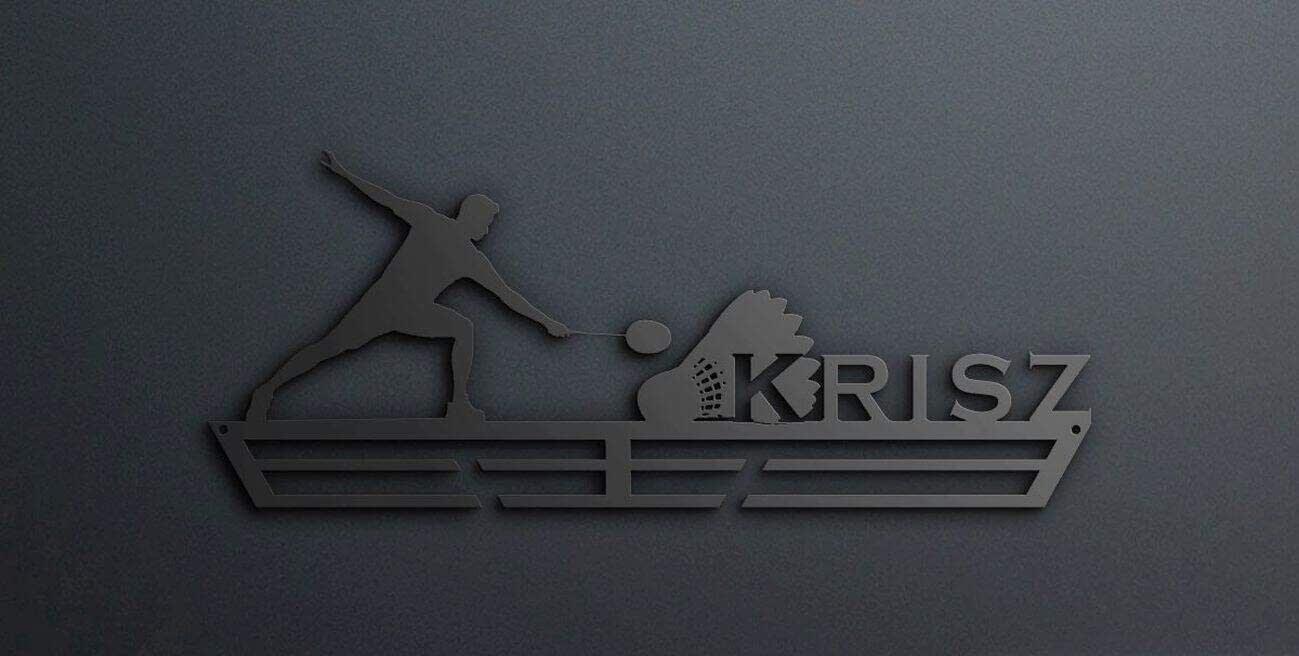 Egyedi falikép és sport éremtartó fali dekoráció ötletek Tollaslabdázónak éremtartó egyedileg a neveddel