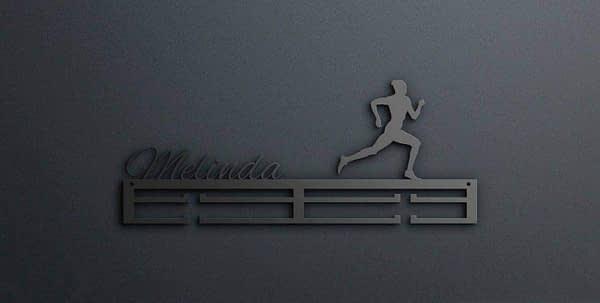 Egyedi falikép és sport éremtartó fali dekoráció ötletek Melinda futós női éremtartó