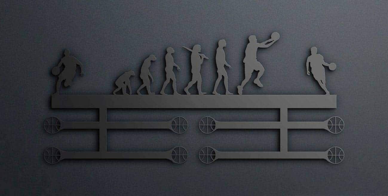 Egyedi falikép és sport éremtartó fali dekoráció ötletek Kosárlabdás éremtartó egyedi akasztókkal
